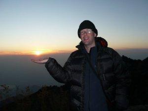 Cheesy pose taken at dawn on Tai Shan